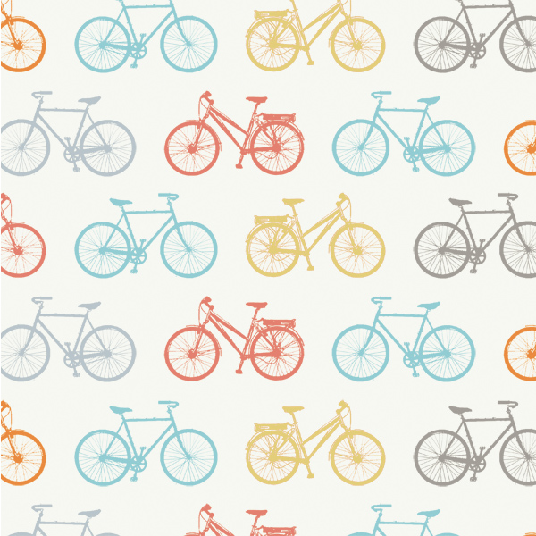 White fabric with printed with evenly spaced, multicolored bicycles.